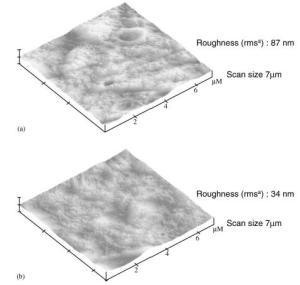 Perbandingan kekasaran membran yang tersumbat pada dua proses berbeda: (A) MBR dan (B) AGMR)